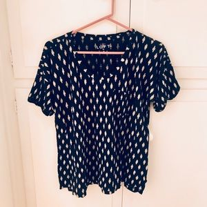 LOFT Navy + Ivory Patterned Tee